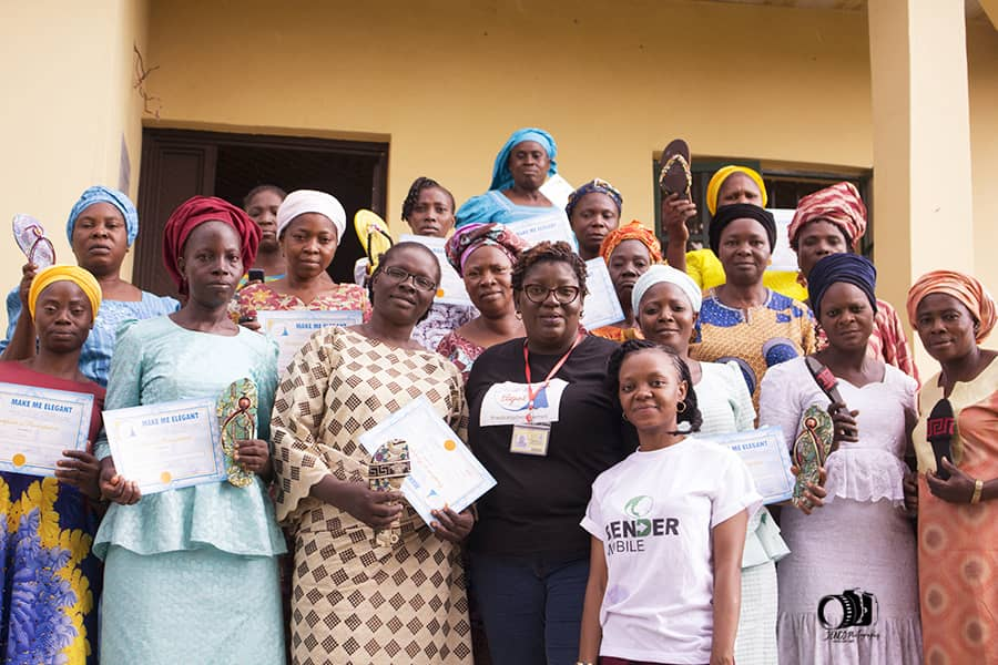 Participants of the livelihood support program with the Executive Director of Gender Mobile Initiative (Ms. Omowunmi Ogunrotimi)